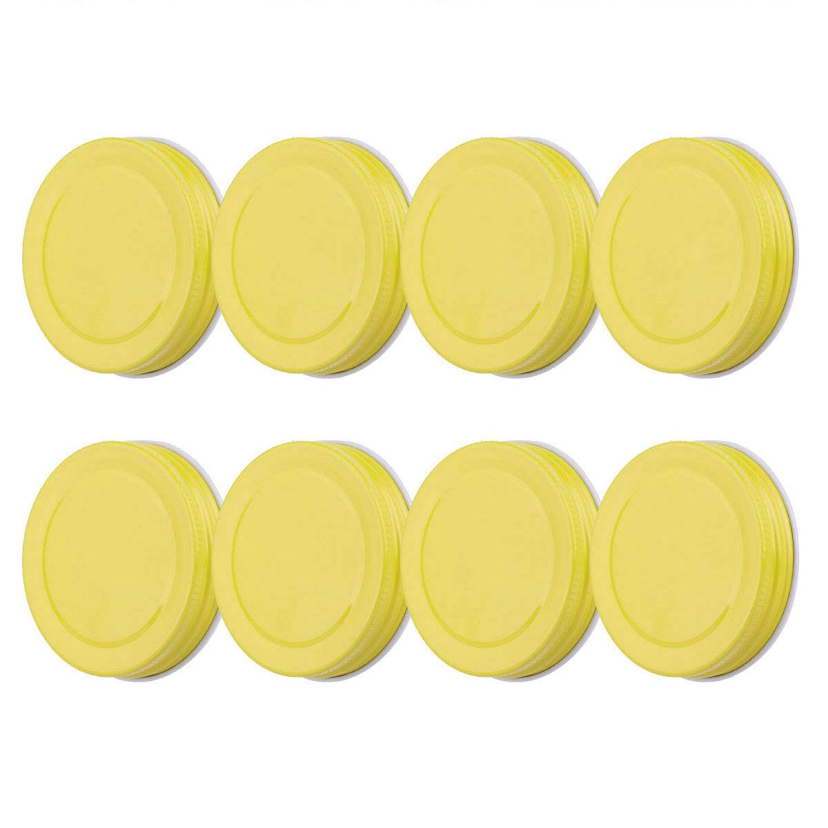 Freebily 8pcs Drinking Jar Lids, Stainless Steel Replacement Caps Lids for Mason Jars Canning Drinking Jars Yellow One Size