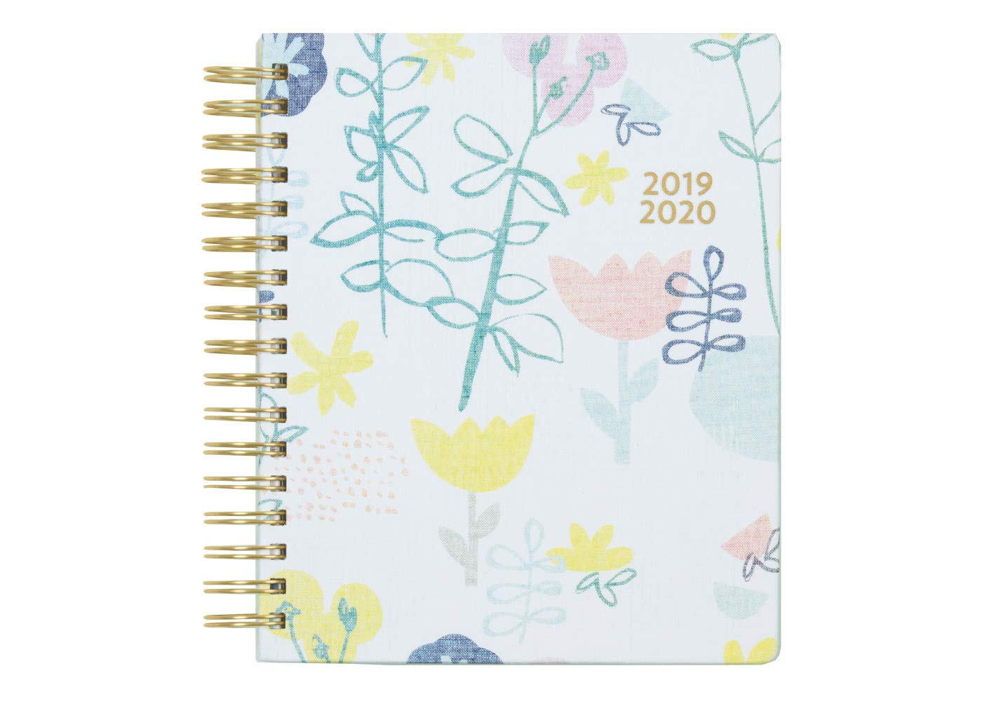 Ampersand for Blue Sky 2019-2020 Academic Year Daily & Monthly Planner, Linen Hardcover, Gold-Tone Twin-Wire Binding, 7'' x 9'', Fresh Floral