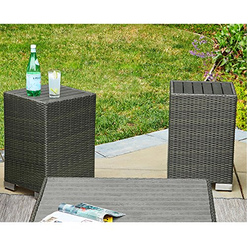 Handy Living Aldrich Grey Indoor/Outdoor 2 Piece Rattan End Table Set (Nesting Chair Aluminum)