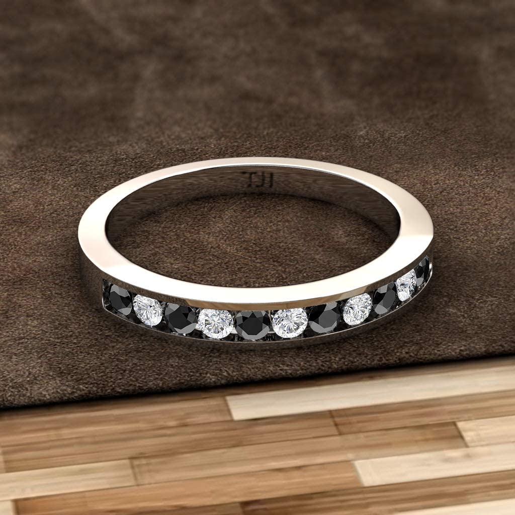 Custom Bezel-set Tungsten Band with Diamonds or Birthstones with FREE ENGRAVING TS065 see description for details