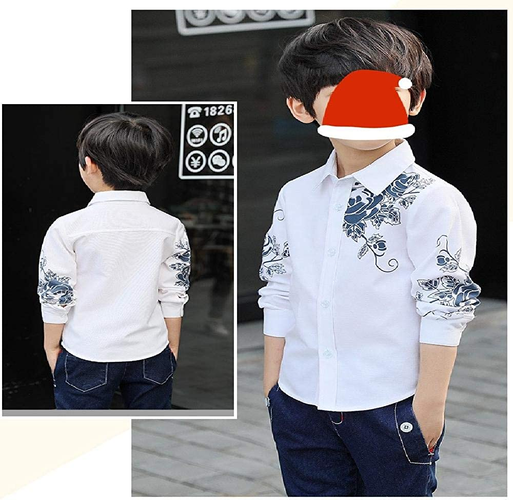 nobrand Camicia da Ragazzo Autunno a Maniche Lunghe con Stampa Coreana per Ragazzi Media e Grande Camicia per Bambini Autunno