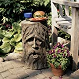 "17.5"" Exotic Mystical Greenman Outdoor Tree Stump Sculptural Table"