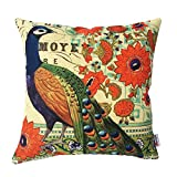 Monkeysell Peacock Pattern Vintage Cotton Linen Square Throw Pillow Case Decorative Cushion Cover Pillowcase Cushion Case for Sofa,Bed,Chair18 X 18 Inch (S018A4)
