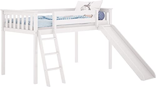 Max Lily Solid Wood Twin-Size Low Loft Bed with Slide, White