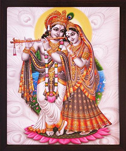 Handicraft Store Lord Radha Krishna Standing In Lotus Flower