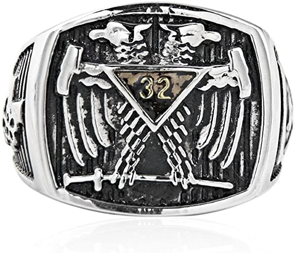 Details about  /Mens Custom Scottish Rite Masonic Rings For Men Freemason Silver Mason Jewelry