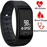 Fitness Tracker Band Smart Bracelet with Oxygen Blood Pressure/Heart Rate/Sleep Monitor Bluetooth Waterproof Sports Activity Tracker with OLED Touch Screen for Android and iOS