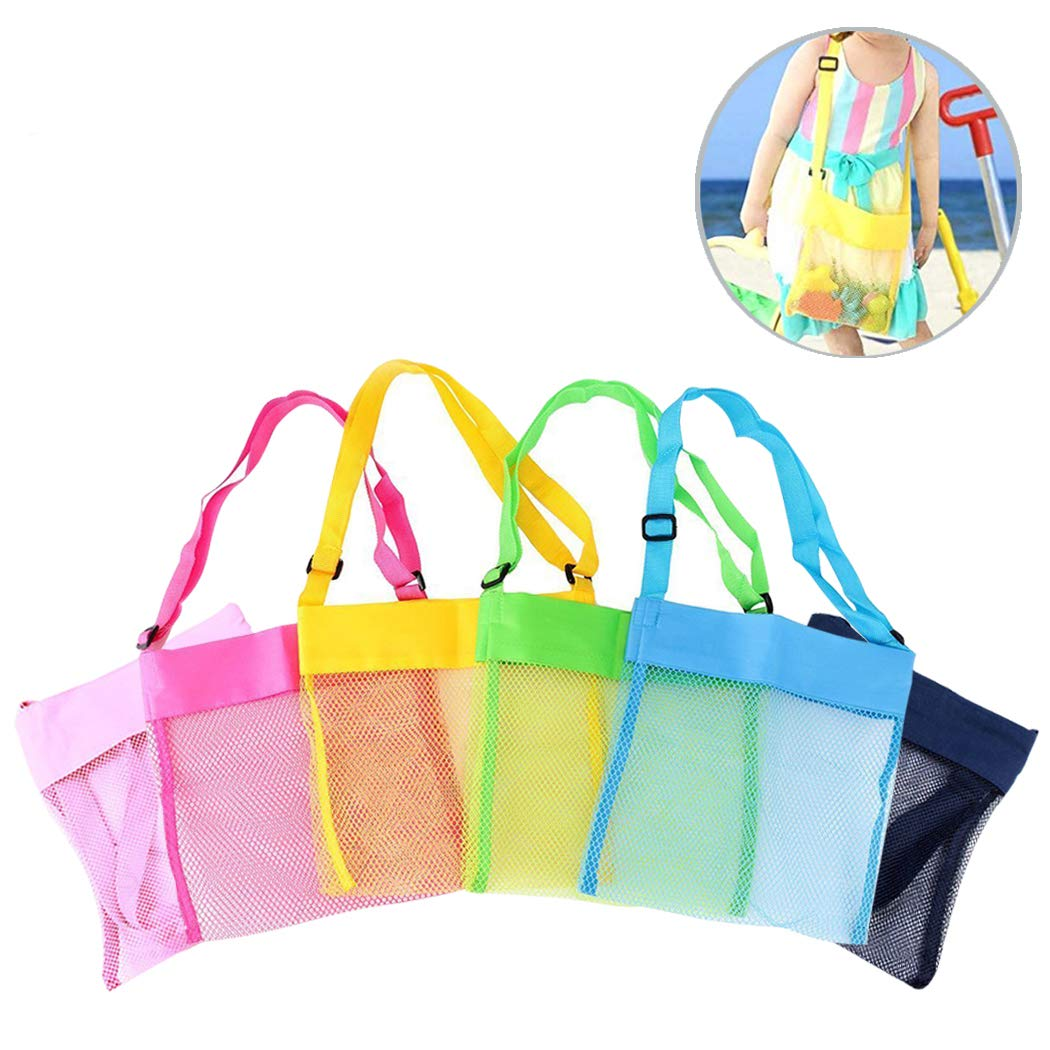 Hatisan-Pro Beach Mesh Tote Bag 4 Pack - Two Size Foldable Beach Toys/Shell Bag Storage Bag, Reusable Sand Beach Toy Bag for Holding Children's Toys Swimming Equipment Storage & Other Beach Items