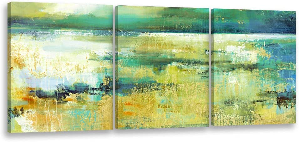 """Decor MI Abstract Wall Art Green Landscape Abstract Painting Canvas Wall Art Retro Old Textures Modern Abstract Prints Wall Art for Living Room Bedroom Bathroom Office Home Decoration 12""""x16"""" 3 Panels"""