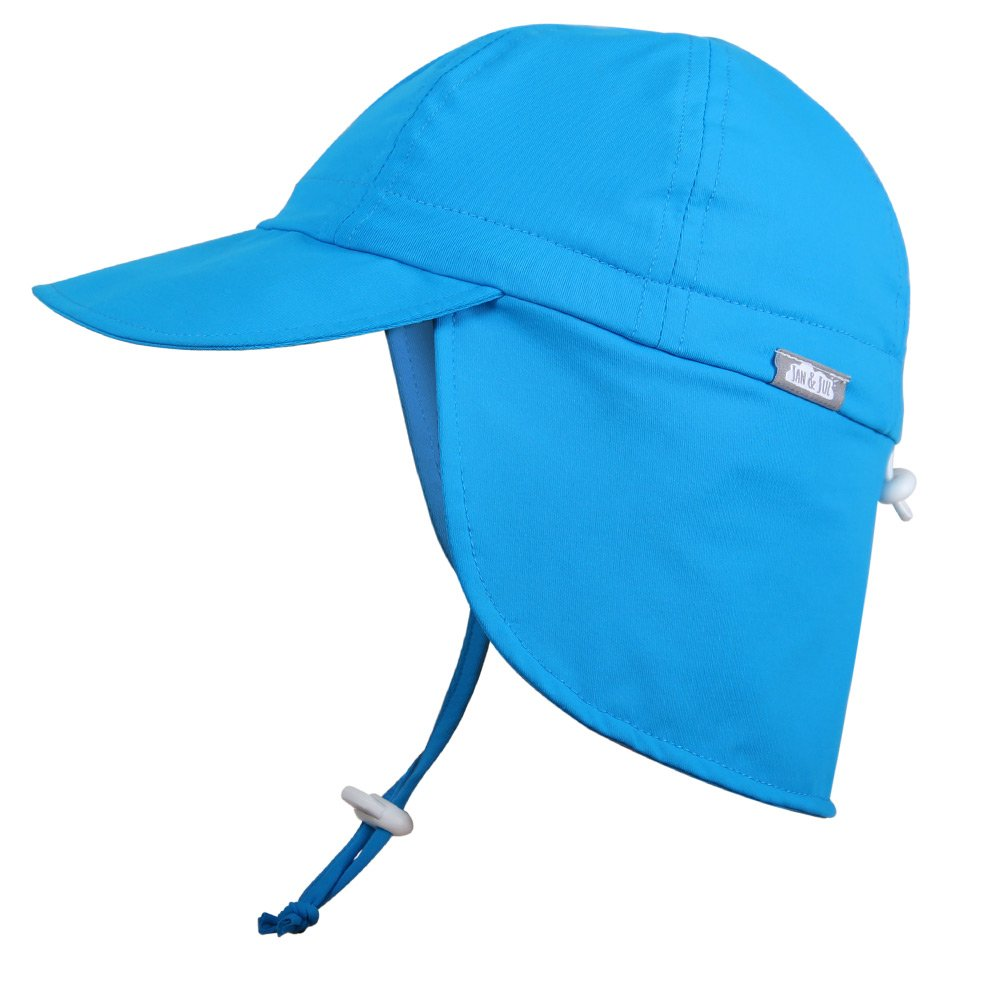 Baby Toddler Kids UPF 50 Sun Protection Adjustable Neck Flap Hat - Discontinued By Manufactuer (Cap M: 9 - 36m, blue)