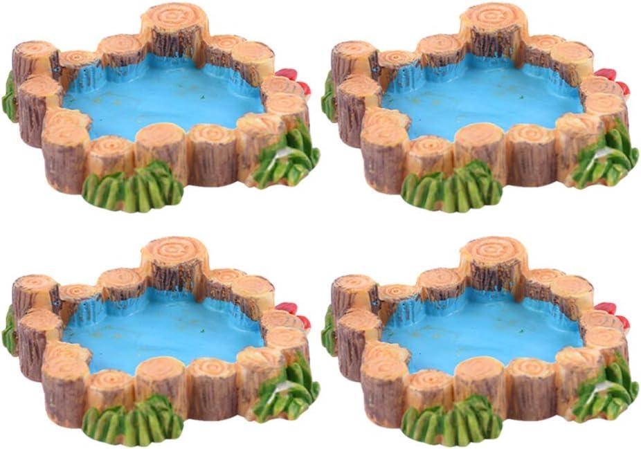 Cabilock 4pcs Miniature Pond Fairy Garden Figurines Micro Landscape Ornament for Bonsai Dollhouse Decoration (Random Style)