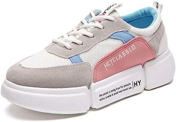 Zapatillas de Running ultraligeras para Mujer Zapatillas de Deporte Transpirables Antideslizantes con Cordones Zapatillas de Deporte Planas Suaves de Malla de Aire para Mujer: Amazon.es: Zapatos y complementos