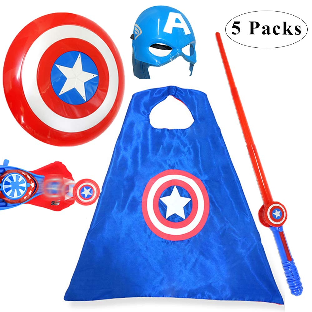 Fundisinn Captain America 5 Packs Cartoon Superhero Costume Light Sound Shield & Satin Cape & Light Mask & Adjustable Sword & Fire Gloves Dress Up Costumes Captain America Toys for Kids by Fundisinn (Image #1)