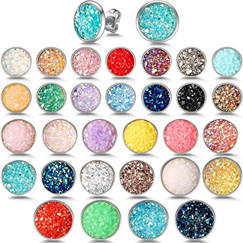 (30 Pairs Round Stud Earrings Stainless Steel Druzy Studs Earrings Set Anti-Sensitive Fits Women Girls, 8 mm, 10 mm, 12 mm (Silver))