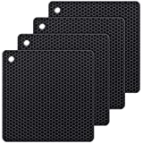 Bligli Silicone Dish Drying Mats Trivet, Durable Multipurpose Pot Holders, Jar Opener, Spoon Rests- Dishwasher Safe –FDA Approved-Food Grade- Set of 4(Black)