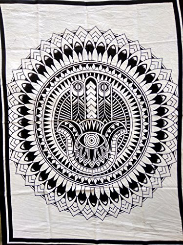 Indian Craft Castle ICC B&W Hamsa Hand Poster Hand of god Tapestry Wall Hanging hamesh chamsa Khamsa Dorm Collage Bohemian Art Psychedelic Small Hippie Rasta Wall Hanging Ganja 30x40 inches