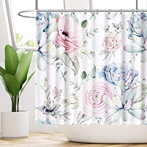 "Funnytree Watercolor Succulent Plants Shower Curtain Set with 10 Hooks Home Bathroom Bathtubs Decor Easy Care Waterproof Machine Washable Durable Polyester Fabric 69""x70"""