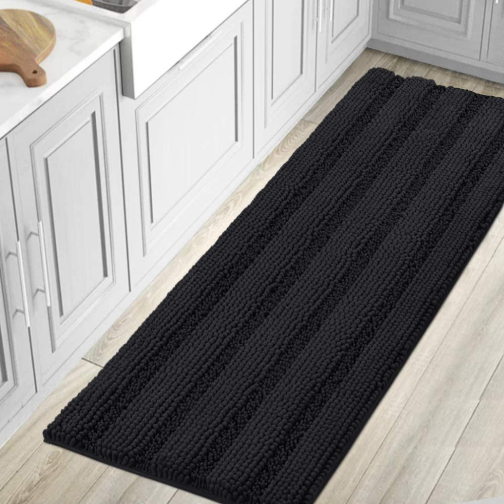 Bath Rugs for Bathroom Washable Non Slip Extra Thick Chenille Striped Bath Mat Rug Runners 59