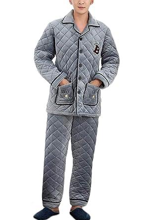 PFSYR Pijamas de los hombres, gruesos cálidos muebles para el hogar solapa cuadros pijama conjunto pecho carta decoración (Color : Gray, Tamaño : 2XL): ...