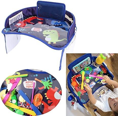 Bandejas de juegos para niños con bolsillos de malla,de actividades para el carro para niños