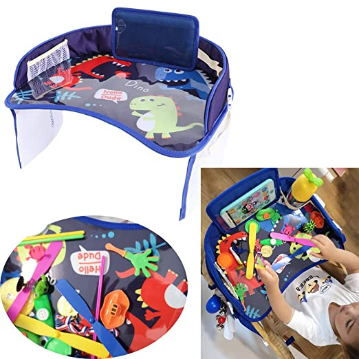 Travel Tray Kids Snack Play Trays Mit Netztaschen Car Activity Tray Für Kinder Mit Trockener Abwischbarer Zeichenfläche Travel Play Organizer Für Kids Snack Table In Premium Qualität Baby