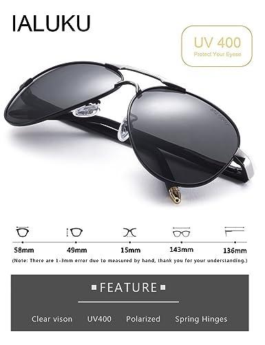 61cd3147f93 Amazon.com  IALUKU Aviator Polarized Sunglasses Metal Frame Pilot Glasses  Men Women (Black Grey