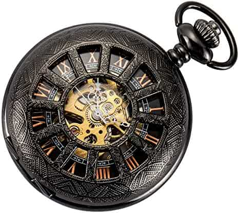 Smart.Deal Skeleton Pocket Watch Special 12-little-window Case Design Men Black Mechanical With Chain Box