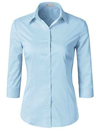 1c031e82395 H2H Womens Office Formal Slim Fit 3 4 Sleeve Button Down Shirt Blouse Top  Aqua