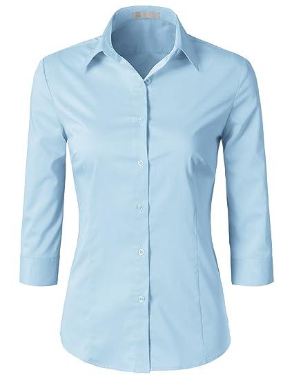 Amazon Com H2h Women Casual Slim Fit Button Down Dress Shirts 3 4