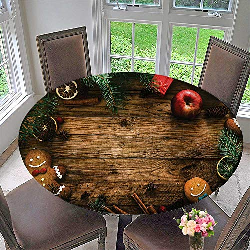 Mikihome Luxury Round Table Cloth for Home use Gingerbread Man Gift Box Pine Cinnam Dessert Rustic Wood Xmas 47.5