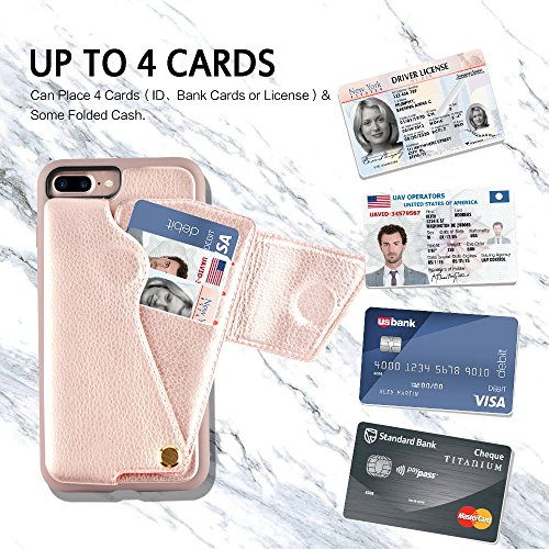 iPhone 8 Plus Wallet Case, ZVEdeng iPhone 7 Plus Card Holder Case, Protective Shockproof Leather Wallet Case with Card Holder for Apple iPhone 8 Plus (2017)/iPhone 7 Plus (2016) - Rose Gold … by ZVEdeng (Image #3)