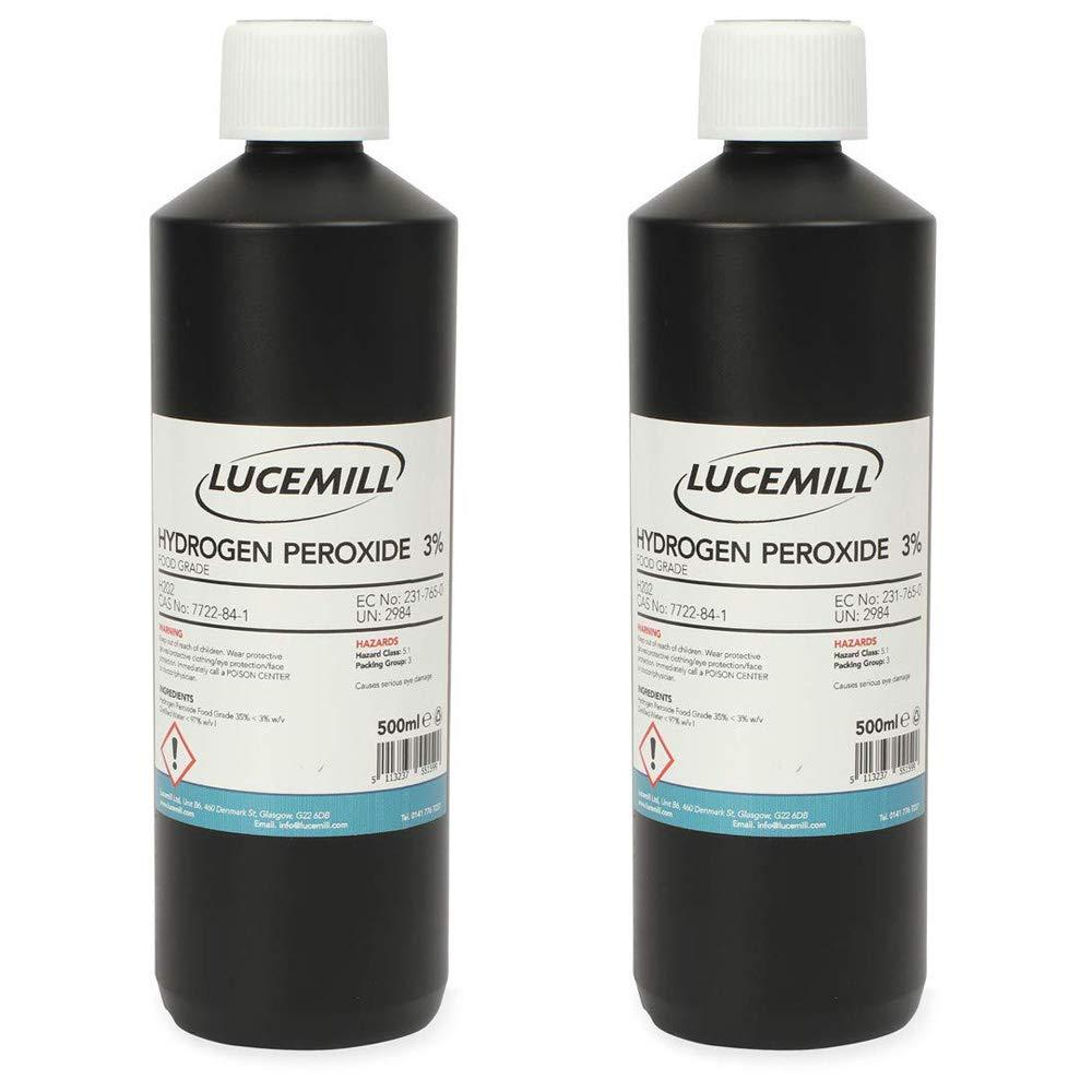 1 x 1 litro HYDROGEN peróxido con diseño de imagen de bolas para pistola de aire (3%) fiambrera con forma de botella/de color blanco de con rosca de ...