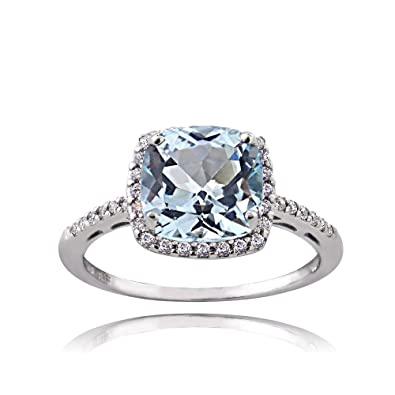 Ice Gems Sterling Silver Blue Topaz And Cubic Zirconia Cushion Cut Halo Ring