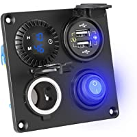 Xueebaoy Carregador USB duplo QC3.0 para carro, interruptor digital ON OFF 12 V tomada painel
