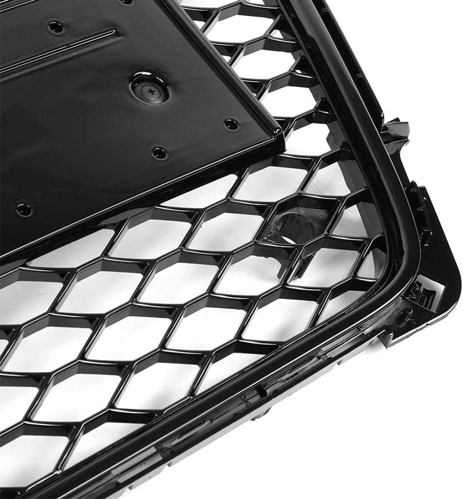 Super1Six Front Grill Sport Hex Mesh Honeycomb Hood Fit for Aud-I A4//S4 B8 2009 2010 2011 2012 RS4 Gloss Black Style