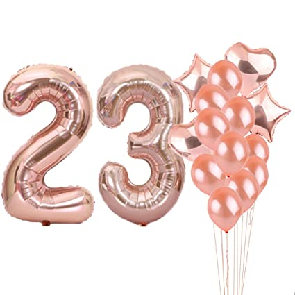 23th Birthday Decorations Party Supplies23th Balloons Rose GoldNumber 23 Mylar Balloon