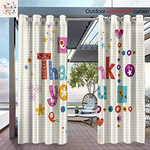 Exterior/Outside Curtains Thank You Card with Lined Paper Background for Patio Light Block Heat Out Water Proof Drape W96 x L84/Pair