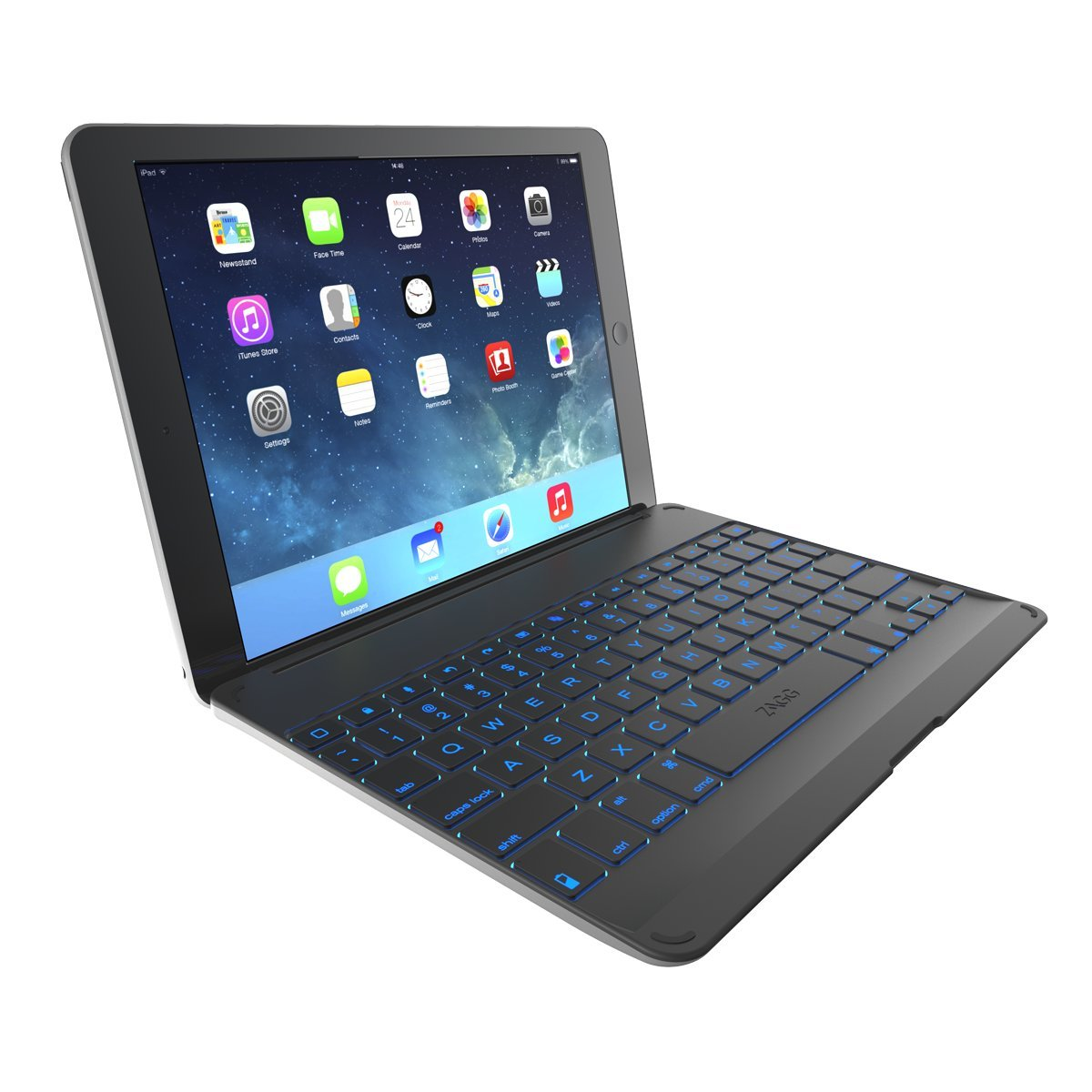 ZAGG Cover with Backlit, hinged, Bluetooth keyboard for iPad Air 1 - Black