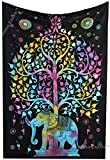 Amitus Exports(TM) Premium Quality 1 X Elephant Under Tree 78''x54''(Approx.) Inches Multi Color Twin Size Cotton Fabric Tapestry Hippy Indian Mandala Throws (Handmade In India)