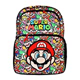 """Disney Marvel Nintendo Super Mario Bros 16"""" Backpack with Face & All Over Printing"""