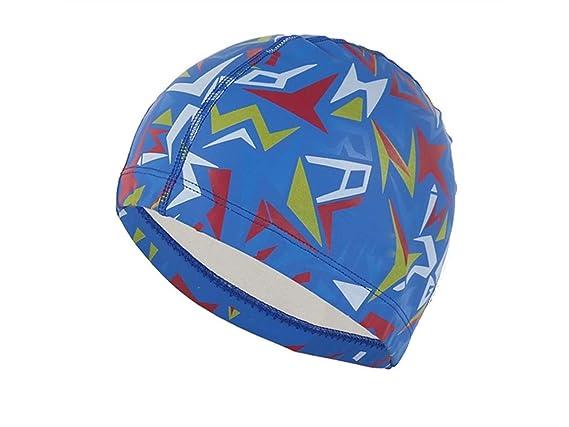 Gorro de baño Sombreros de natación de la Tela de la PU Cascos de natación de los Deportes acuáticos (Blancos) Sombrero de natación (Color : Azul, ...