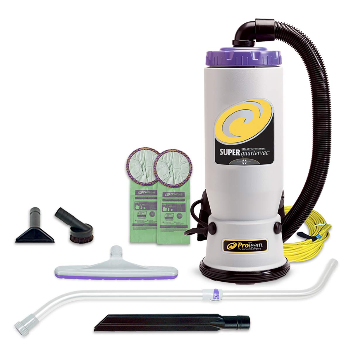 ProTeam Backpack Vacuums, Super QuarterVac Commercial Backpack Vacuum Cleaner with HEPA Media Filtration and Telescoping Wand Tool Kit, 6 Quart, Corded