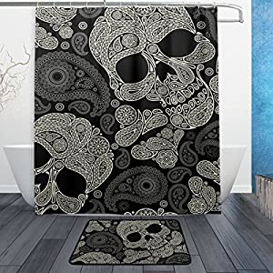 Sugar Skull Shower Curtain Polyester Fabric Bathroom Curtain Set with Mats Rugs-12 Hooks