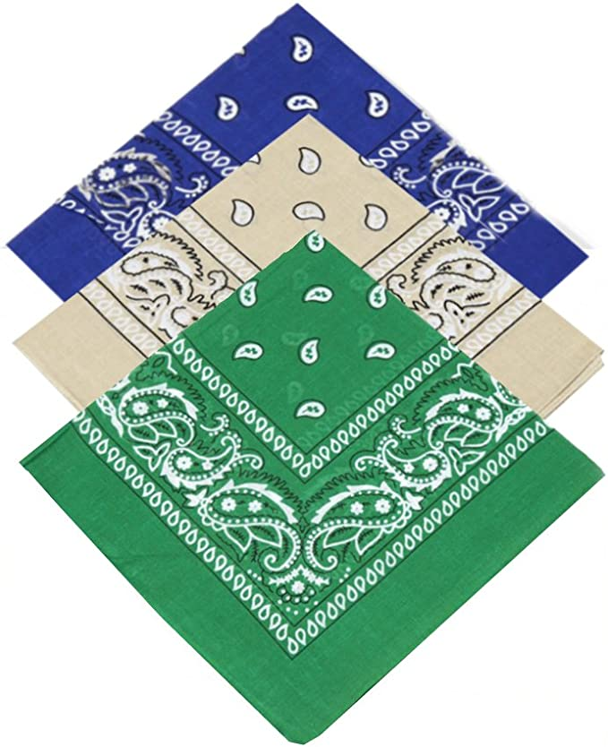 Juego de 3 pañuelos de cachemira (azul real, beige, verde oscuro ...