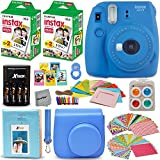 Photo : Fujifilm Instax Mini 9 Instant Camera COBALT BLUE + Fuji INSTAX Film (40 Sheets) + Accessories Kit / Bundle + Custom Case + Photo Album + 4 AA Rechargeable Batteries & Charger +Assorted Frames +MORE