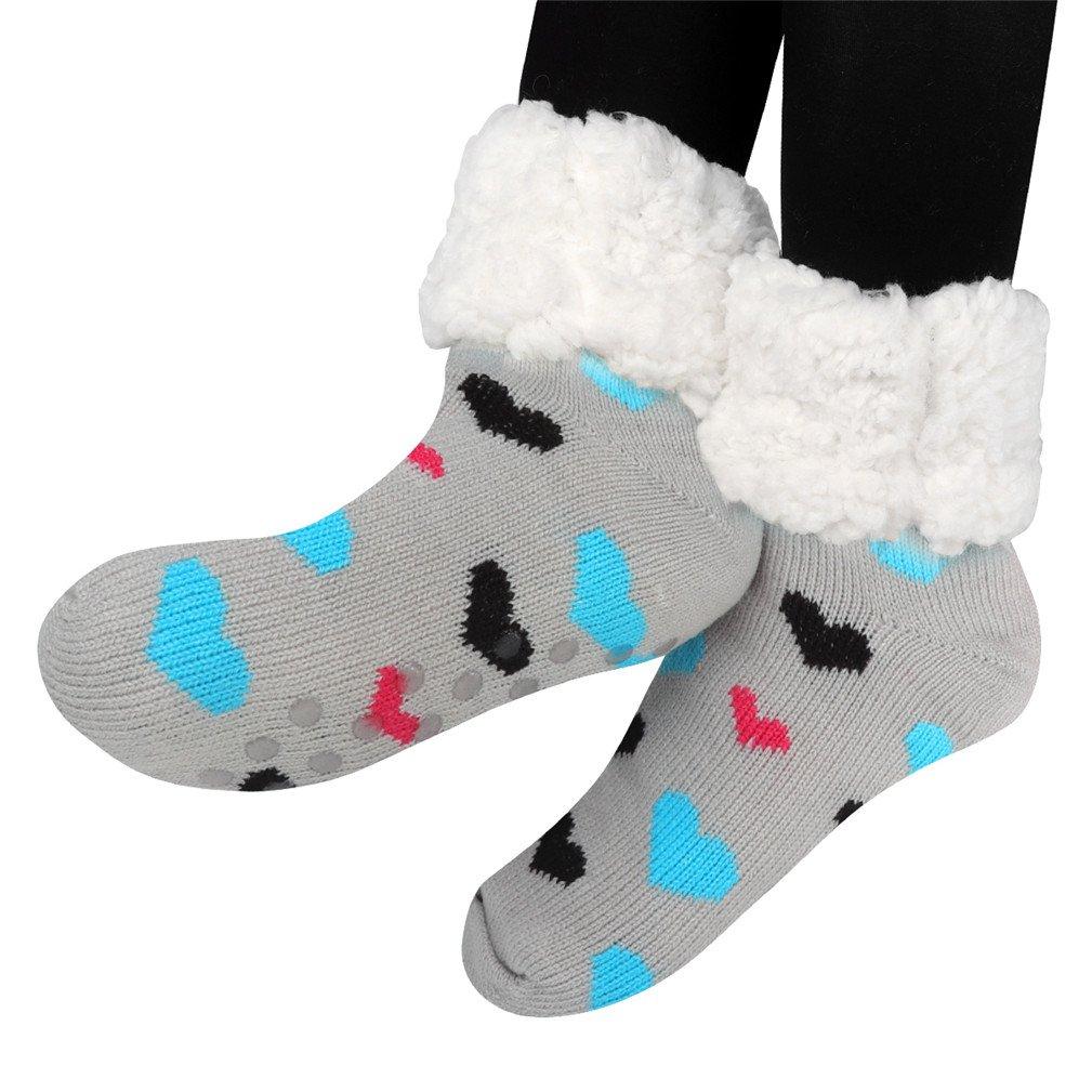 calze a pantofola donna antiscivolo, Fodera in pile da donna sfocato morbido Natale Calze al ginocchio Slipper Socks