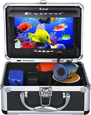 Eyoyo Portable 7 inch LCD Monitor Fish Finder Waterproof Underwater 1000TVL Fishing Camera 15m Cable 12pcs IR Infrared LED for Ice,Lake and Boat Fishing
