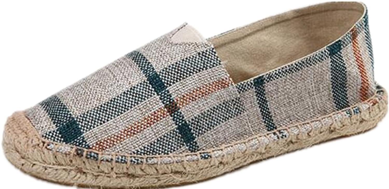 Men and Women Plaid Canvas Shoes Linen Fisherman Shoes Lazy Breathable Carrefour Shoes