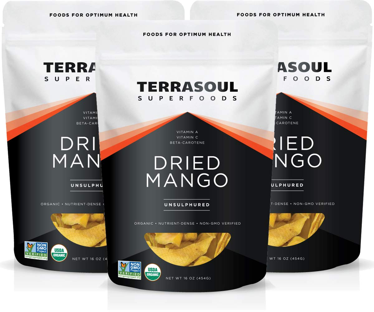 Terrasoul Superfoods Organic Dried Mango Slices, 3 Lbs (3 Pack) - Naturally Sweet & Tart   Healthy Prebiotic