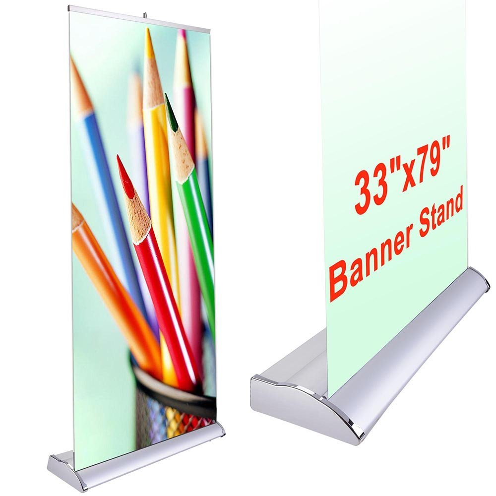 Deluxe 33''x79'' Retractable Rollup Banner Stand Trade Show Display Sign Holder Exhibition Promotion Aluminum Structure by Yescom